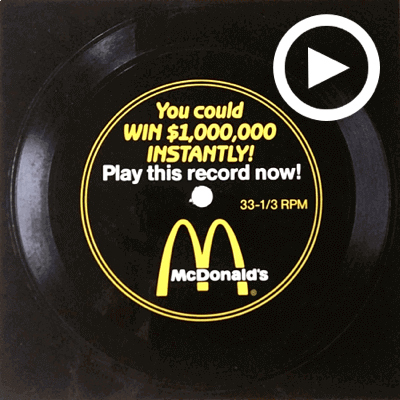 You Could Win $1,000,000 Instantly! Play This Record Now! McDonalds 1988 Flexi-disc