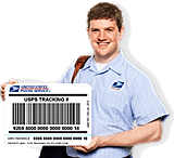 US Postman holding oversize Tracking Sticker